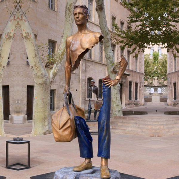Bruno catalano Bronze Traveler Sculpture for garden