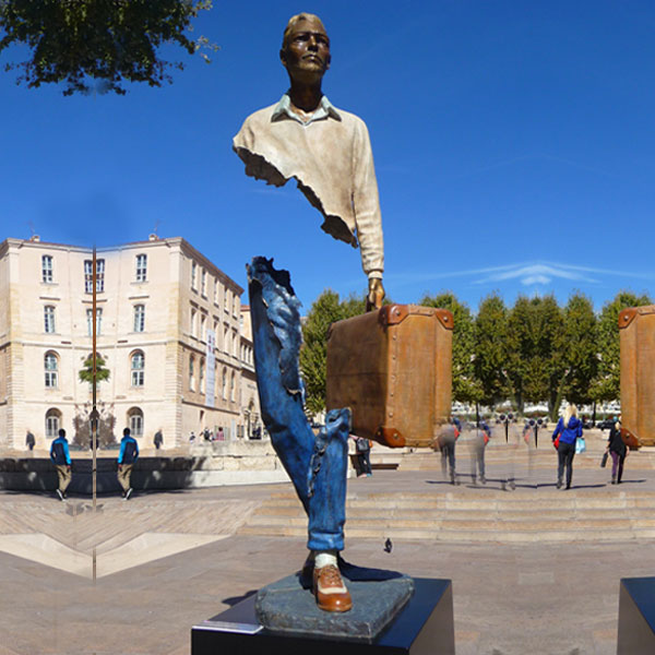 Bruno catalano Bronze Traveler Sculptue In Park
