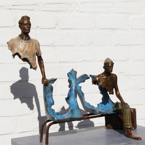 Modern Bronze Traveler Sculpture for Sale