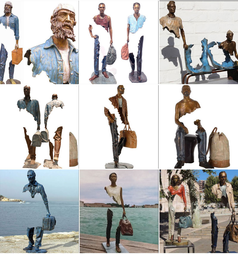 Outdoor Famous Art Bronze Traveler Sculpture for Sale