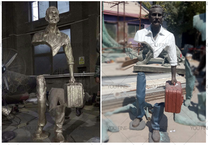 abstract bronze traveler statue