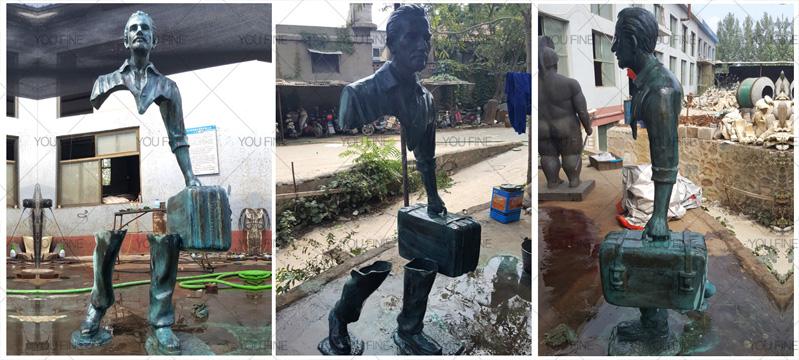 bronze traveler statue